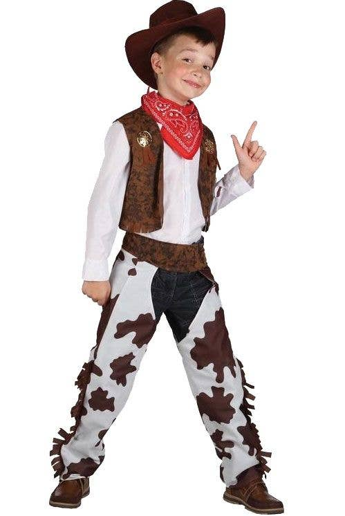 Deluxe Indian Chief Wild West Boys Fancy Dress Costume