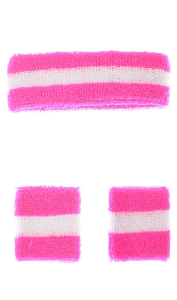 TOWELLING WRIST /& HEADBAND SPORTS SWEATBANDS FANCY DRESS BRIGHT NEON 80/'s RETRO