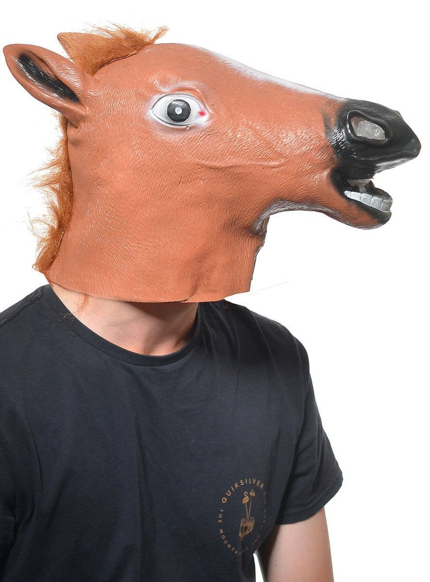 Brown Horse Head Latex Adults Mask Novelty Brown Horse Costume Mask