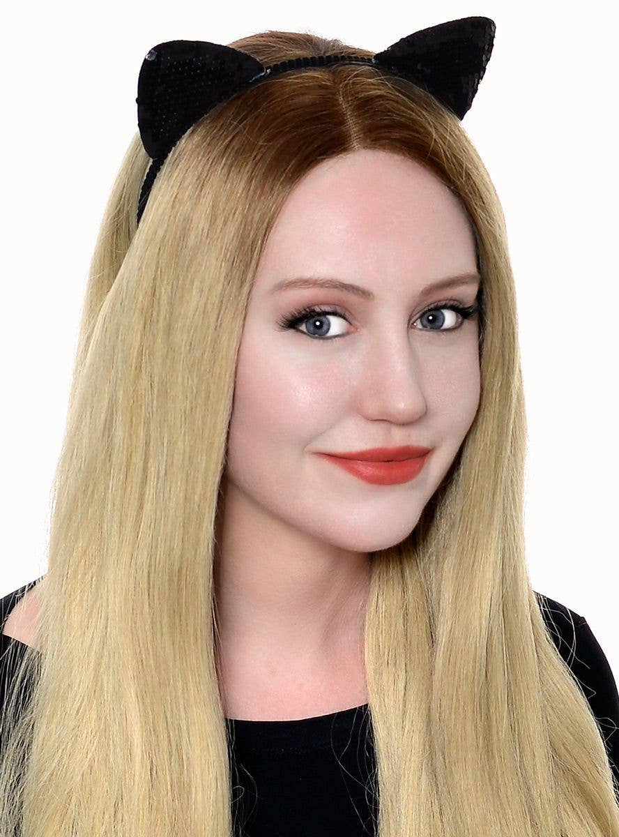 crystal cat ears headband halloween costume kitty cat costume accessory