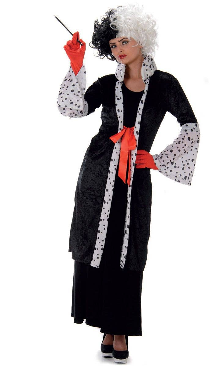 Adult Zombie Cruella Evil Madame Costume Ladies Halloween Fancy Dress Outfit New