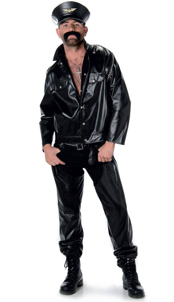 Faux Black Leather Bad Biker Costume Men S Village People Dress Up