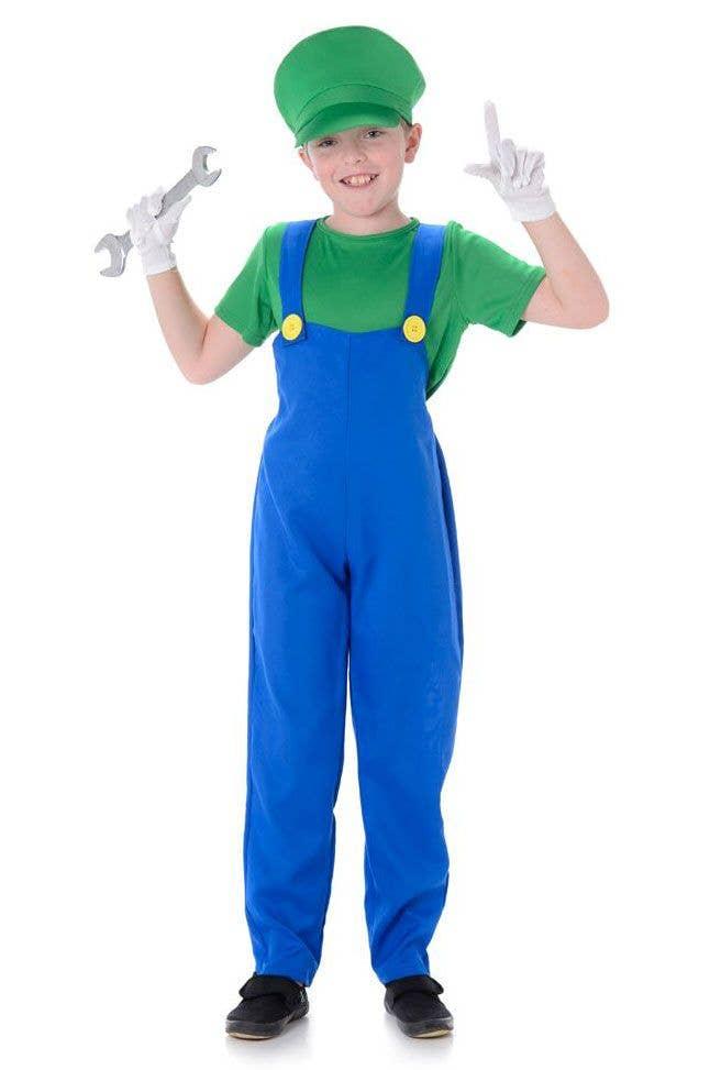 Super Mario Brothers Green Plumbers Couples Deluxe Luigi Fancy Dress Costume