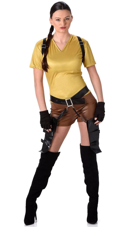 Lara Croft Tomb Raider Style Twin Guns Holster Gloves Glasses Hen Fancy Dress