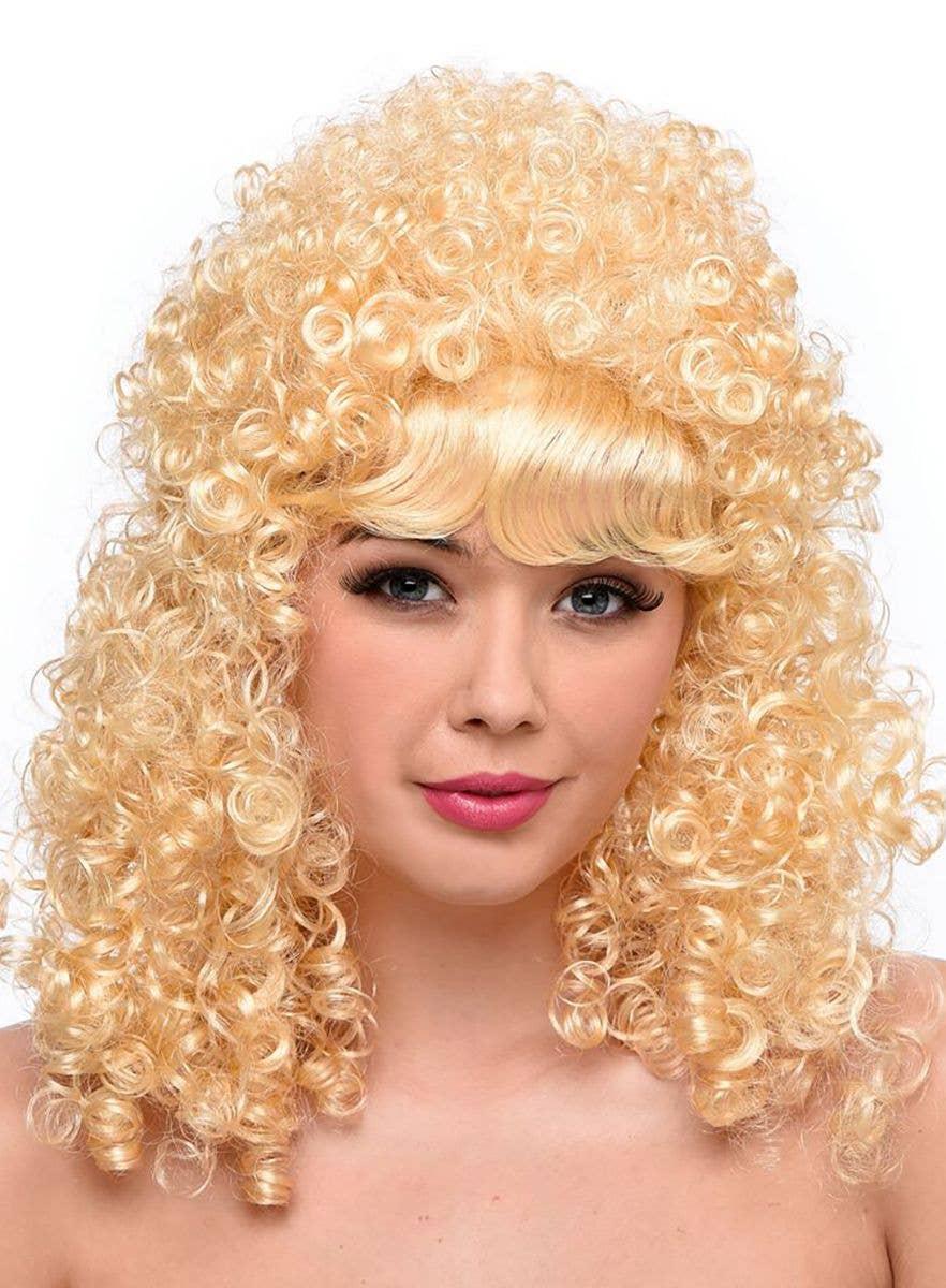 Cheerleader Wig Blonde Ladies Fancy Dress 80/'s Movie Star Wig Fringed Wig
