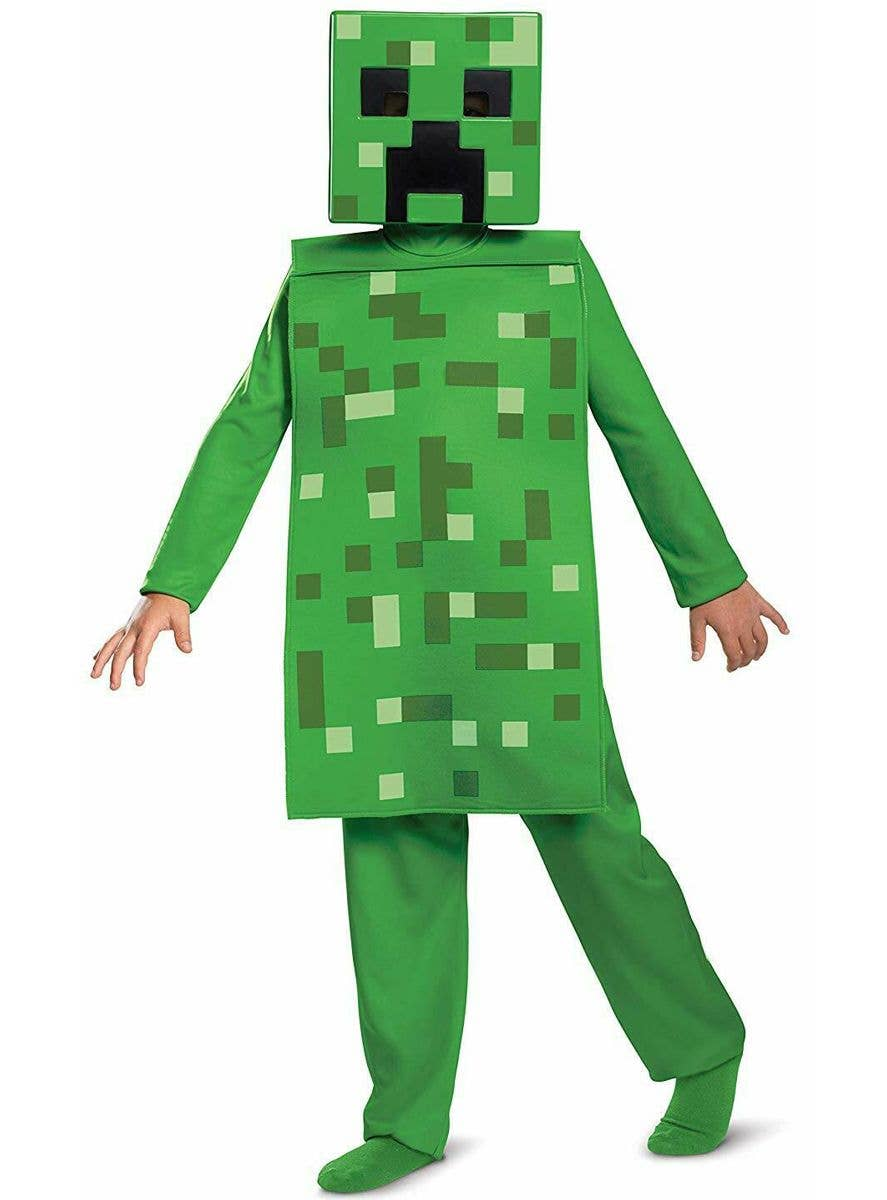Green Creeper Minecraft Costume For Boys Kids Gaming Costume