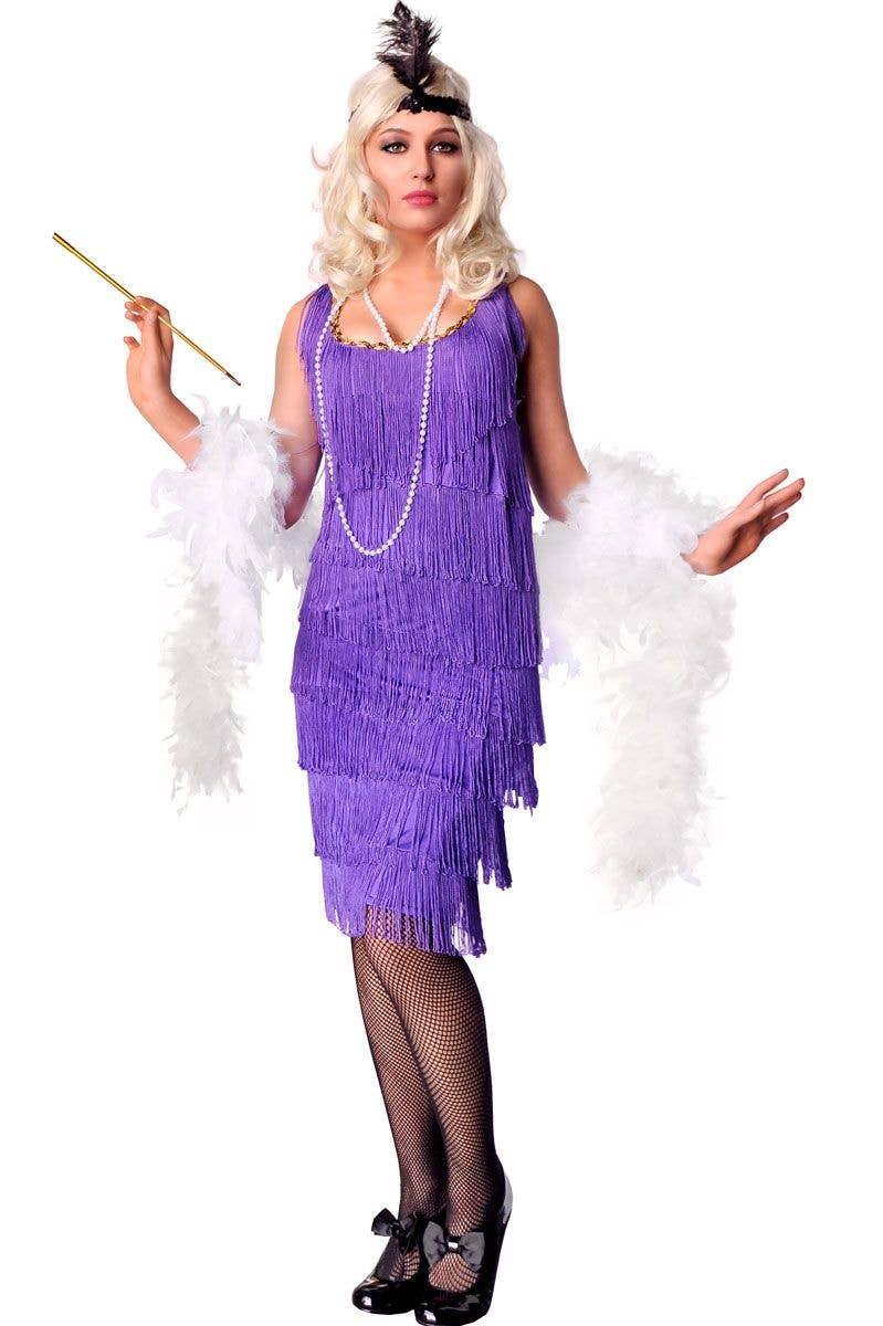 Ladies Purple Flapper Costume Adult Great Gatsby Roaring 1920/'s 20s Fancy Dress
