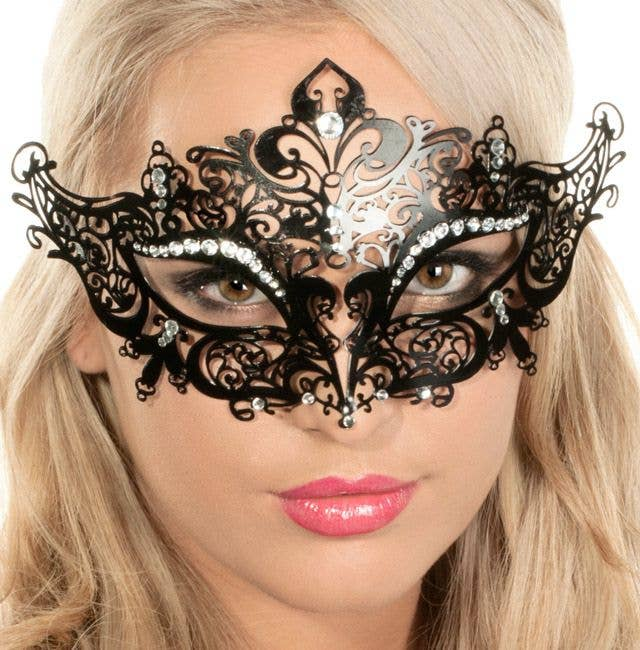 Blue Gold Metal Clear Rhinestone Princess Costume Party Mask