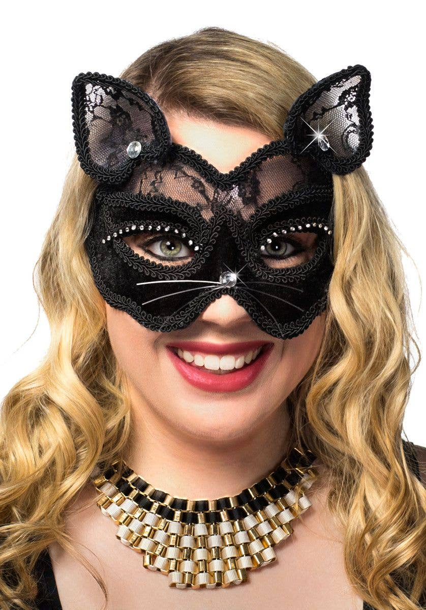 Halloween Masquerade Masked Ball Black Cat Whiskers Red Devil Eye Face Mask New