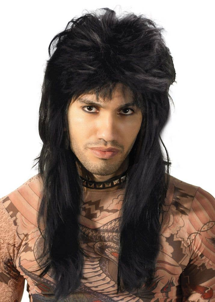80/'s Spiked Long Hair Mullet Wig Red White Black Fancy Dress 80s Party Glam