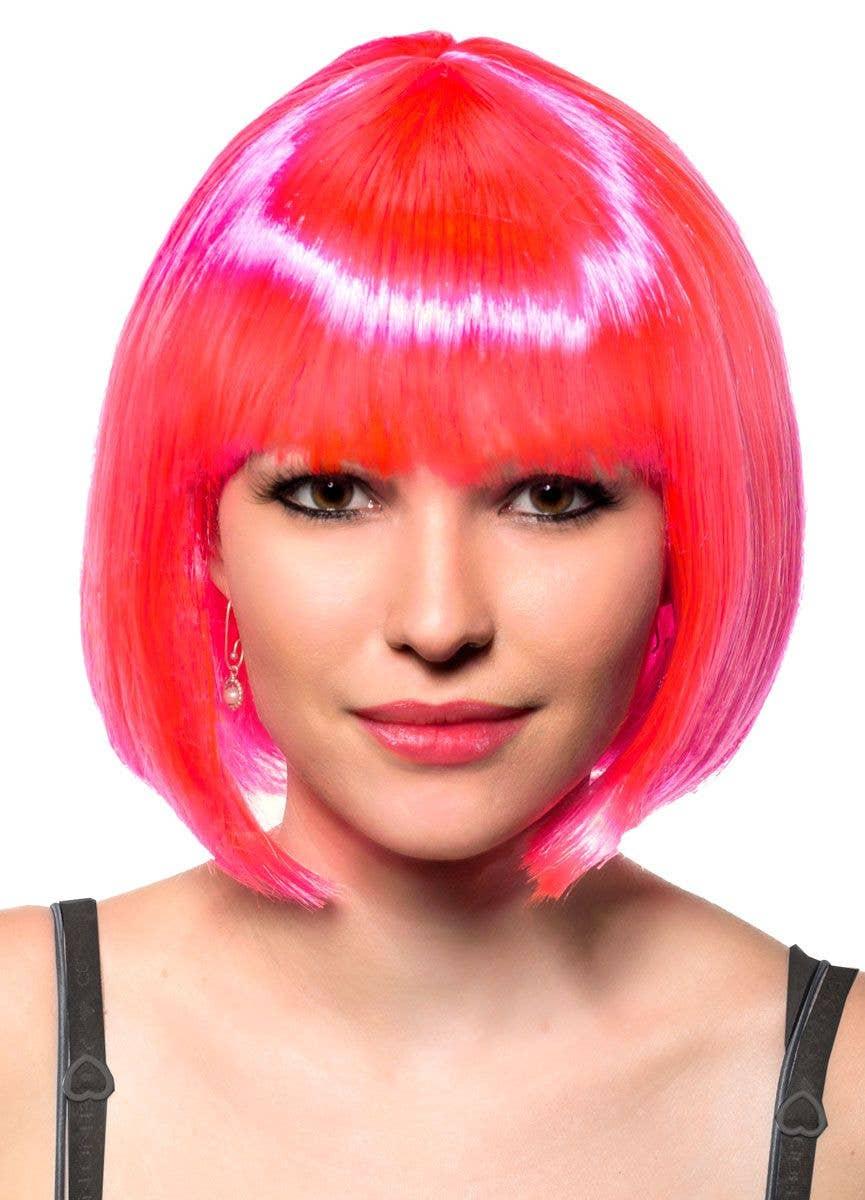 Women/'s Neon Pink Green /& Blue Bob Wig Adult One Size Fancy Dress 80s Accessory