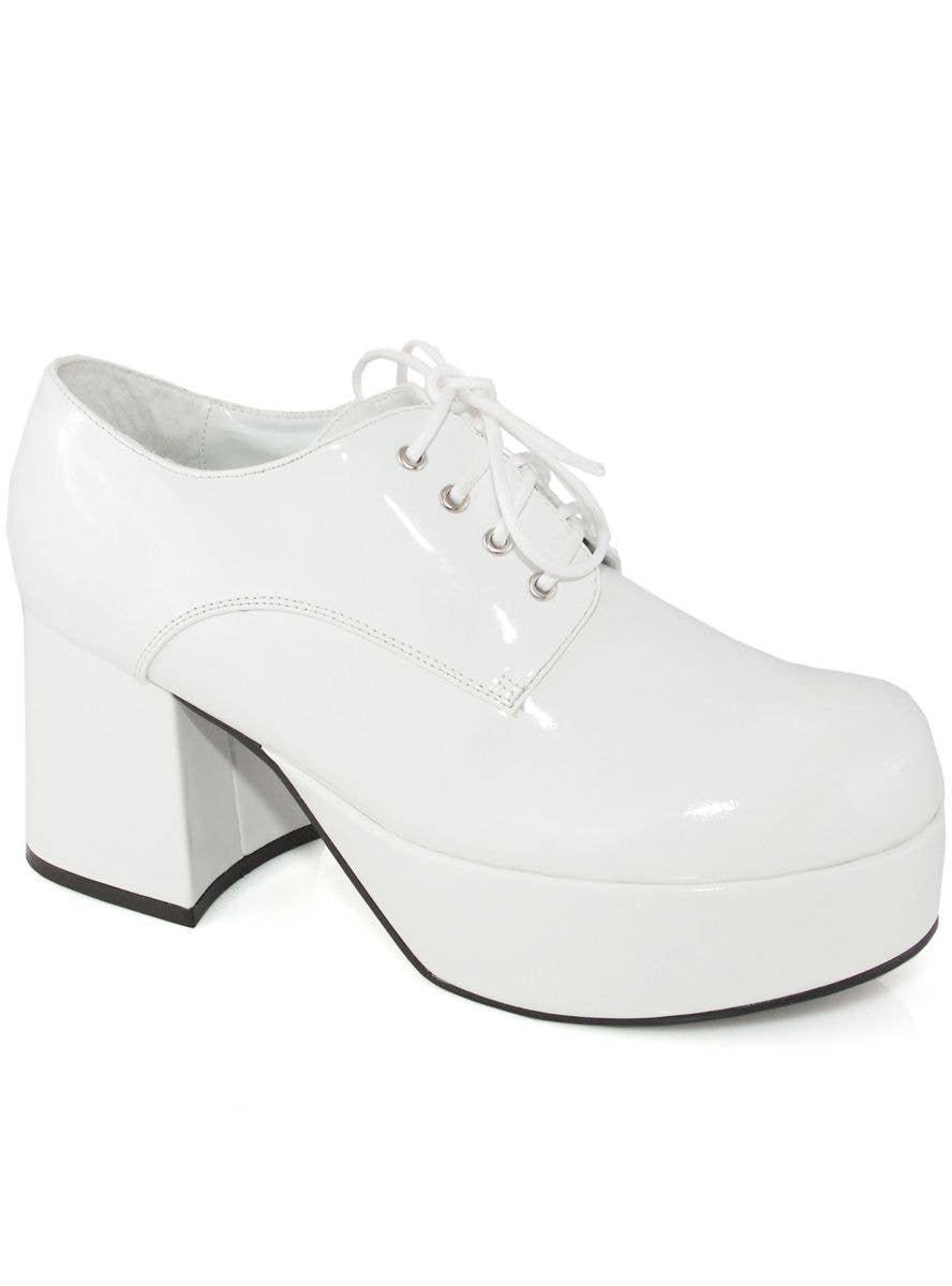 Men's White Patent Platform Shoes
