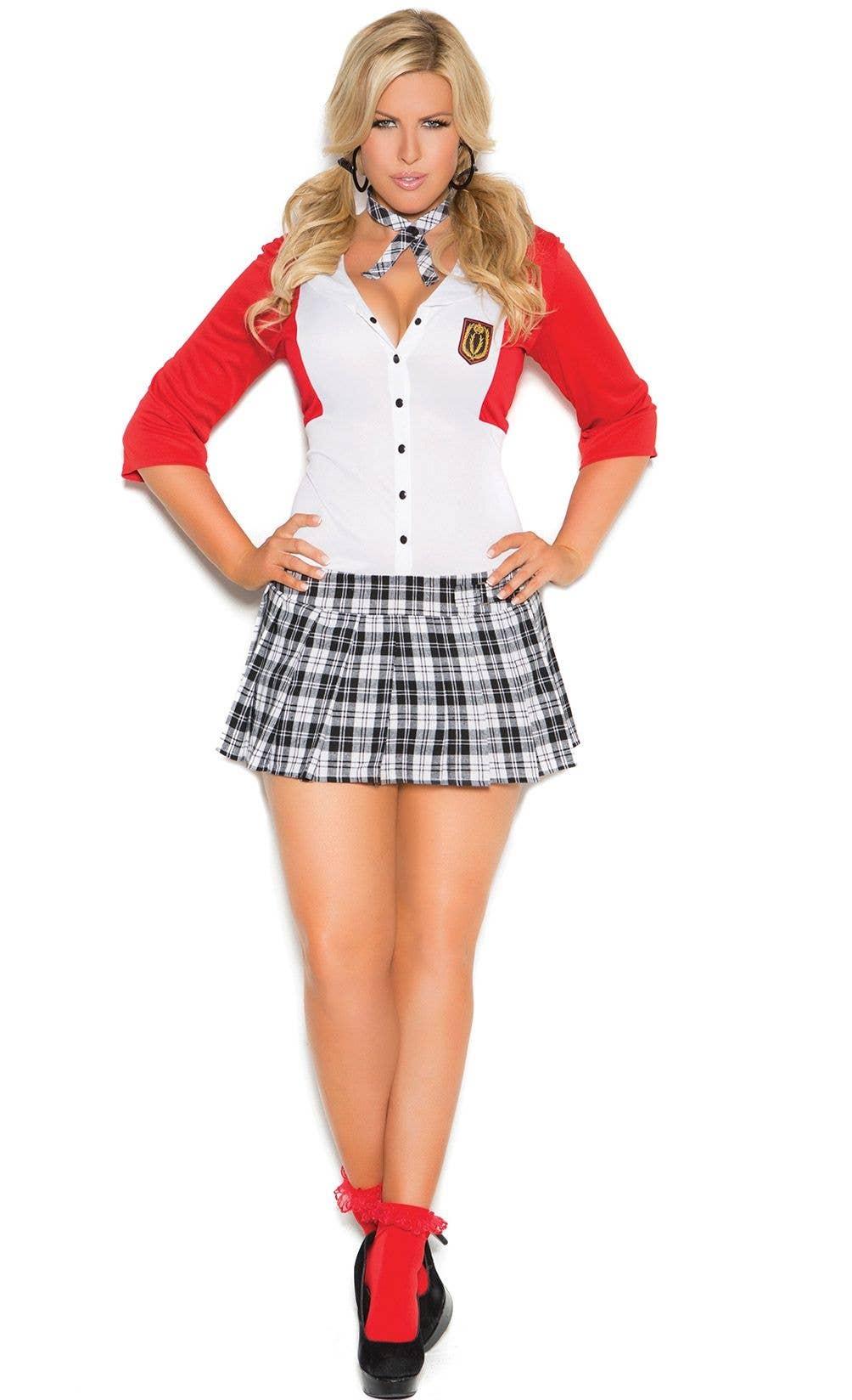 Ladies School Girl Red Tartan Skirt OTK Socks Tie World Book Day Fancy Dress