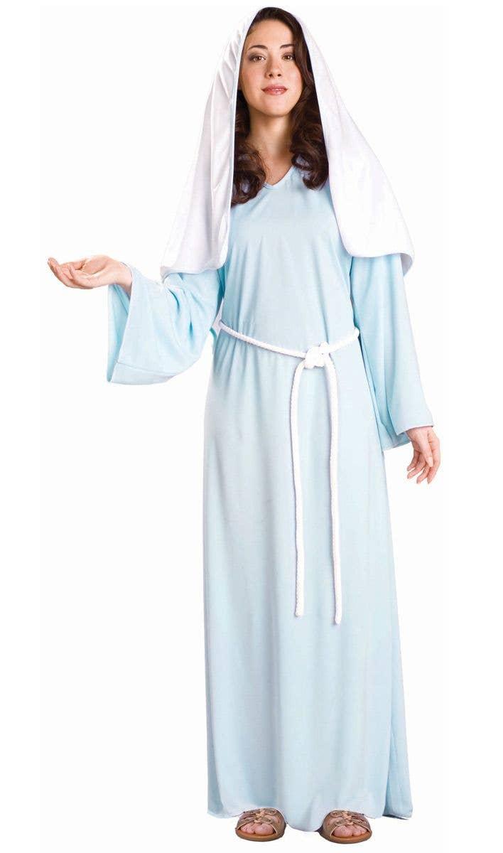 Ladies Virgin Mary Costume Nativity Christmas Biblical Womens Blue Fancy Dress