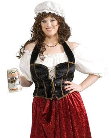 Womens Fancy Dress VELVET CORSET Pirate Corset Wench Saloon BROWN