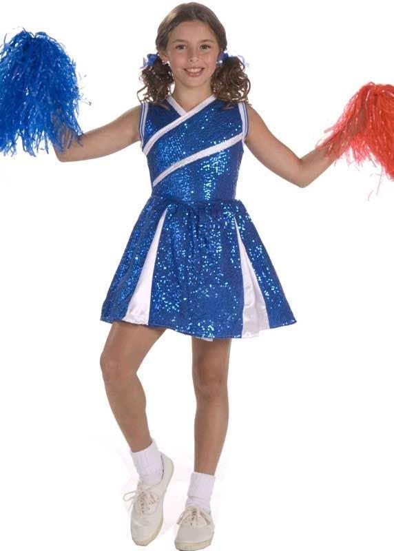 Cheerleader Pom Pom BLUE Poms Megaphone Costume Adult Childs Cheer Leader Prop