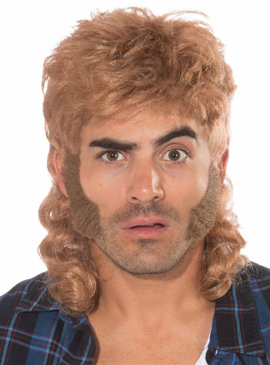 Beard and Mous Forum Novelties Mens Wig-80s Man Wig Standard Brown