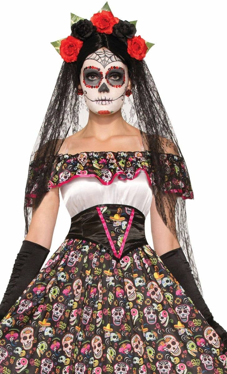 Ladies Day Of The Dead Devil Costume Womens Mexican Red Fancy Dress Outfit