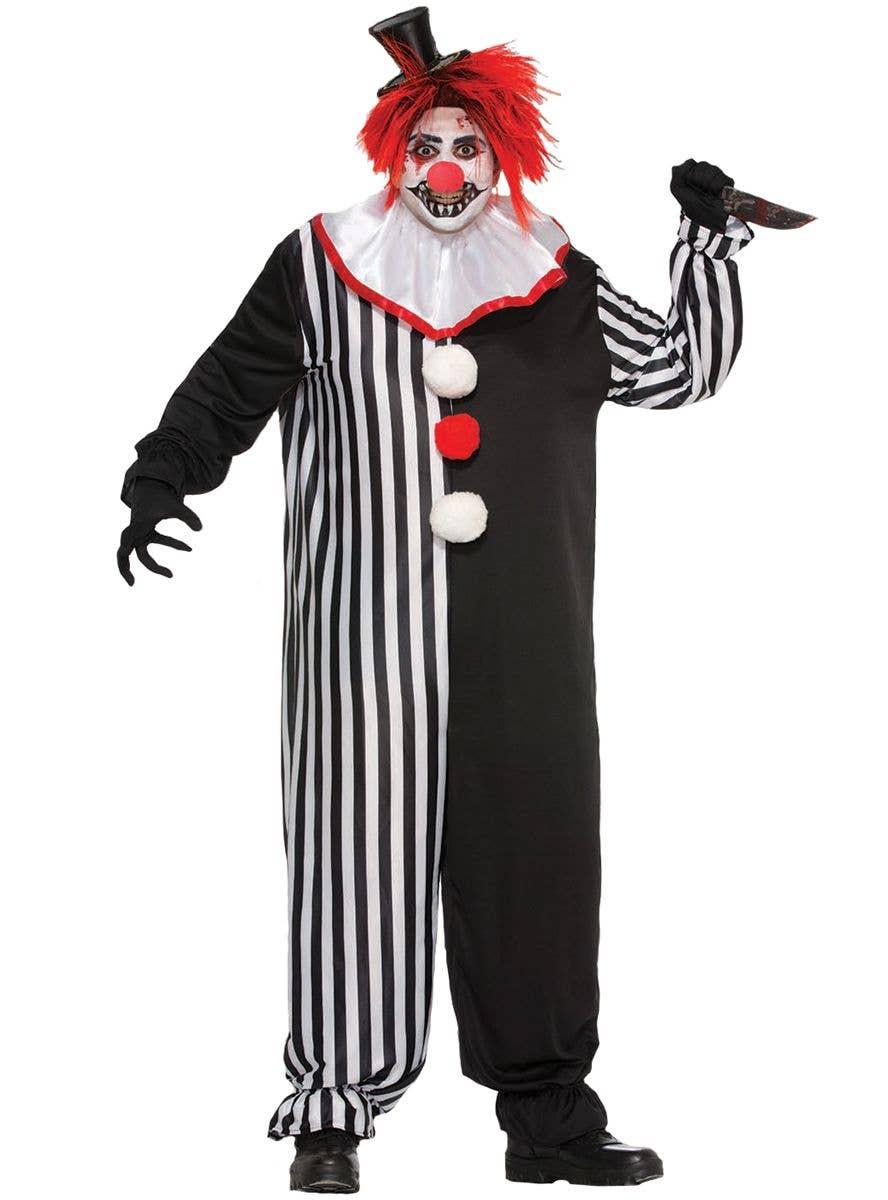 DELUXE BLACK KILLER CLOWN COSTUME PLUS ACCESSORIES HALLOWEEN FANCY DRESS HORROR