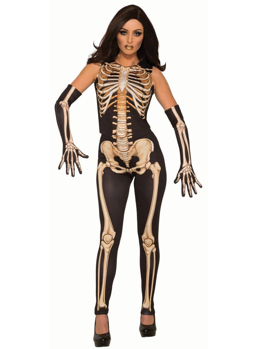 Womens White Spandex Skeleton Bones Halloween Catsuit Fancy Dress Costume Outfit