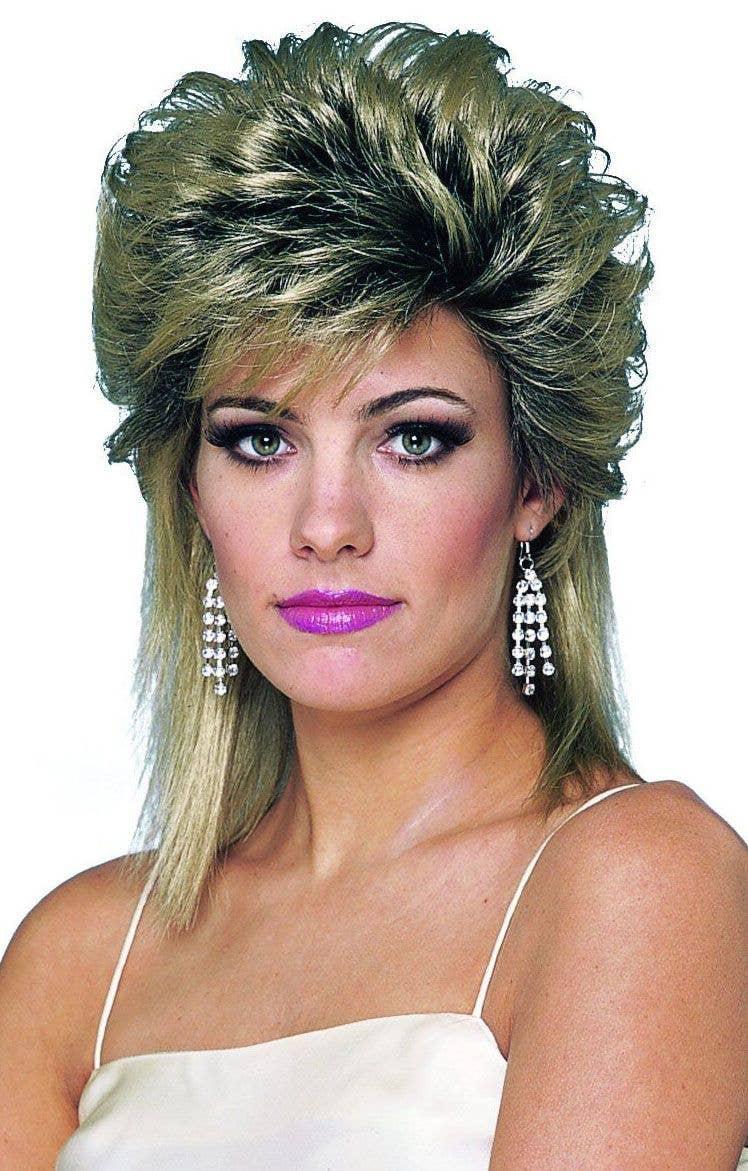 80s 80 Bogan Mullet Black Punk Pop Star Costume Men Wig