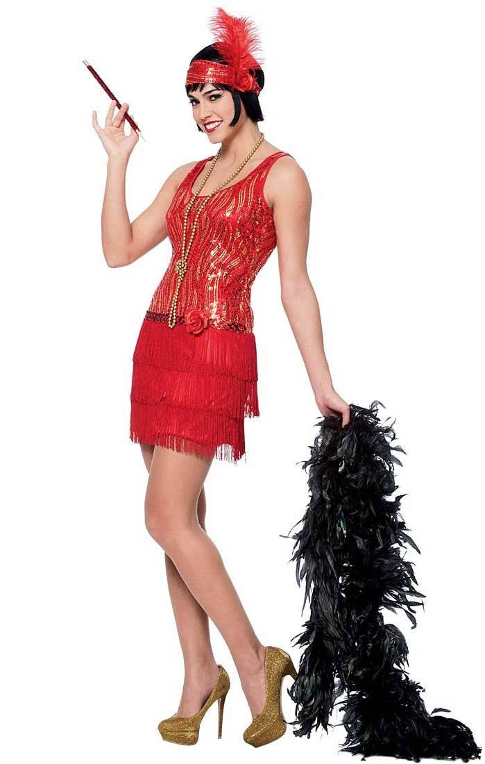Girls Kids 1920s Red Sequin Charleston Flapper Gatsby Fancy Dress Costume Outfit