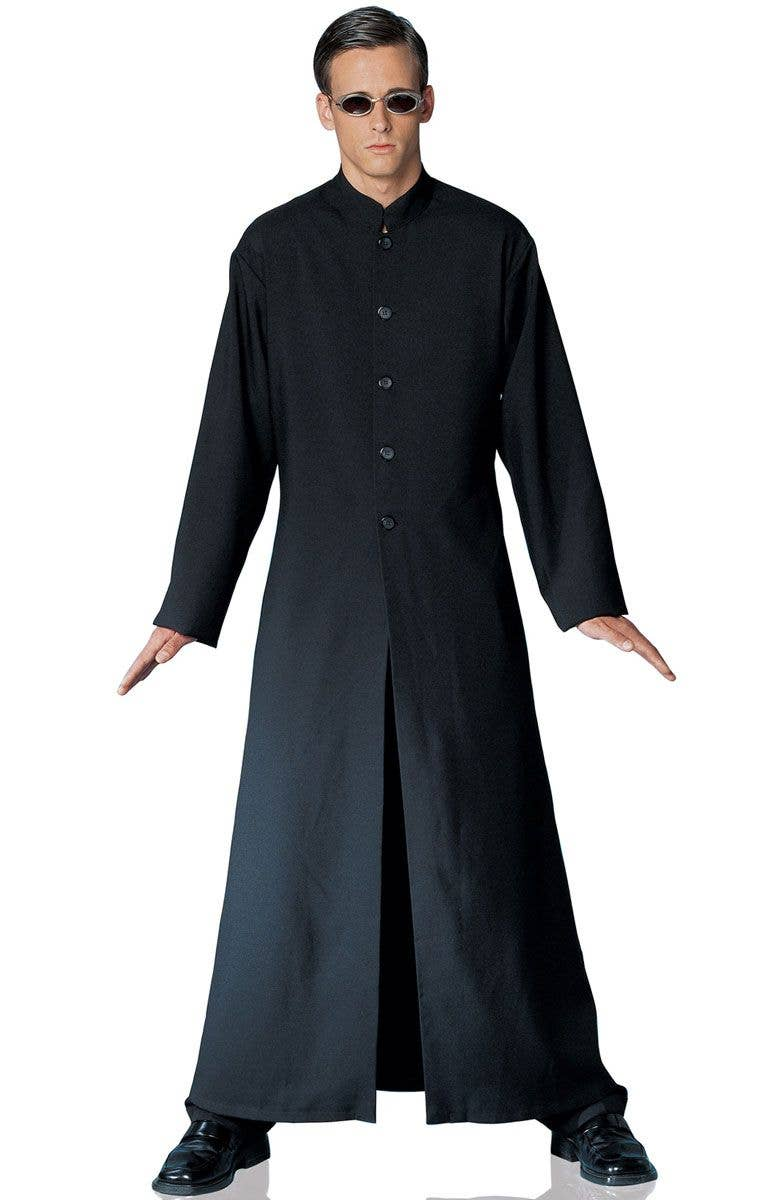 MENS CYBE MAN THE ONE BLACK DUSTER COAT FANCY DRESS COSTUME FILM MOVIE CHARACTER