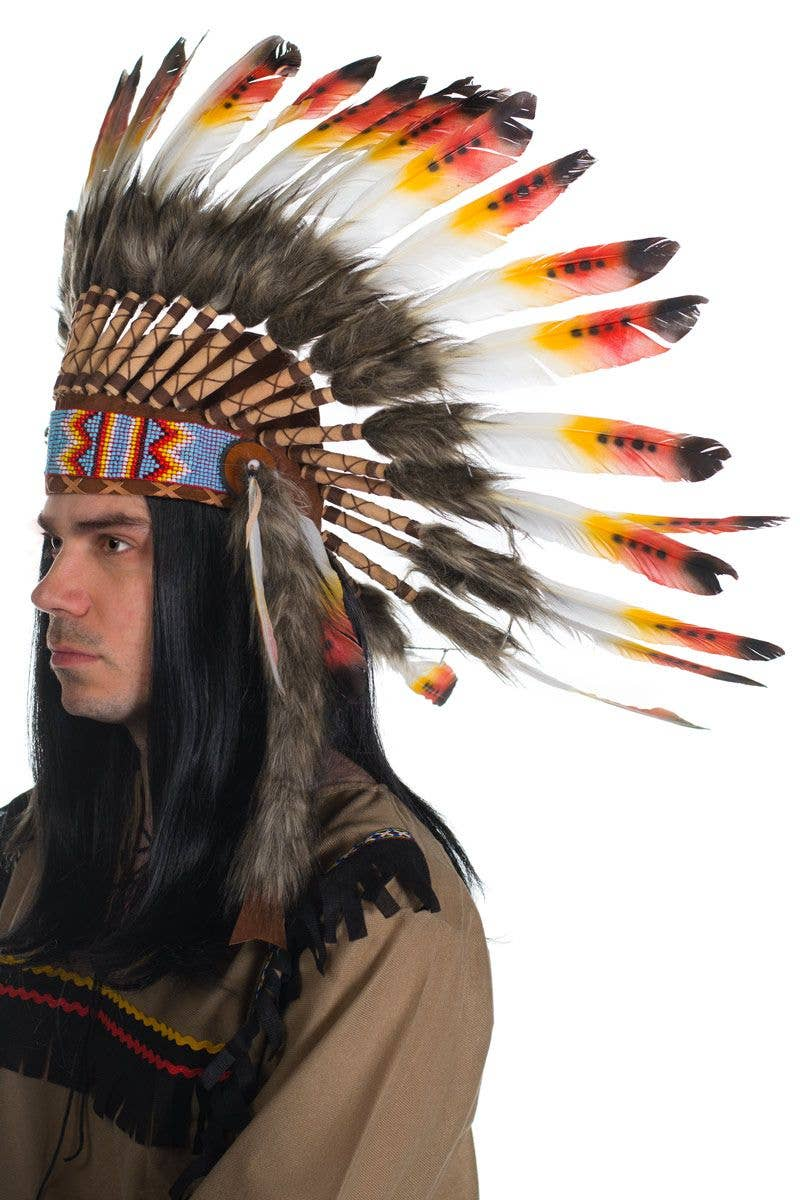 Deluxe Native American Headdress With Blue Feathers One Size