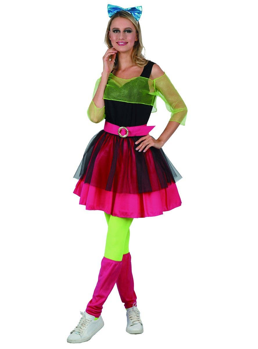 80/'s Party Girl Kit MultiColoured Neon Womens Ladies Fancy Dress Costume