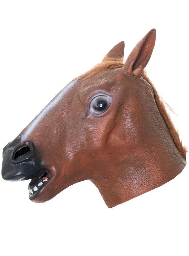 ADULTS MENS LADIES  LATEX HORSE MASK ANIMAL COSTUME FANCY DRESS ACCESSORY