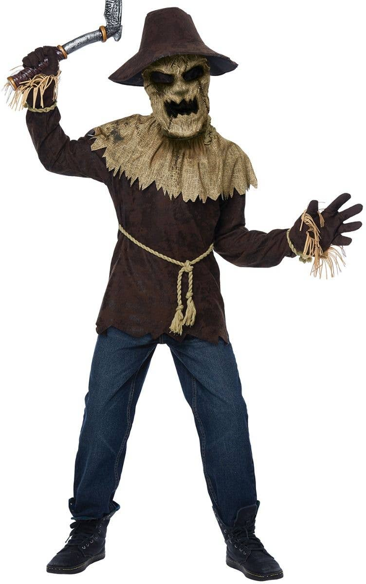 Boys Evil Scarecrow Fancy Dress Costume Deluxe Kids Halloween Scarecrow Costume
