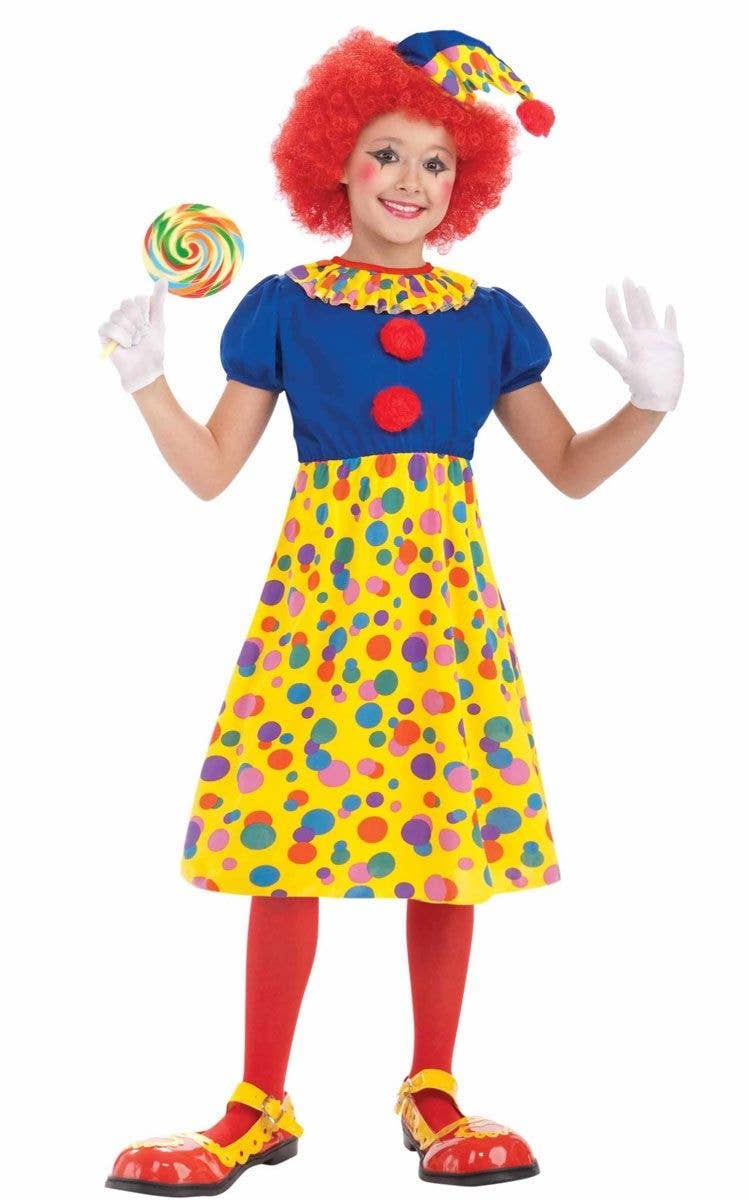 Girls Rainbow Clown Costumes Childs Circus Fancy Dress Kids Book Week Day Outfit