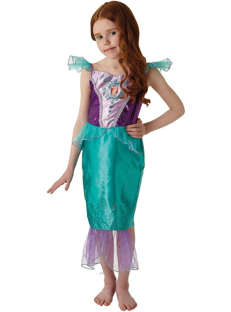 Girls Mermaid Costume Princess Ariel Fairytale Story Kids Book Week Fancy Dress