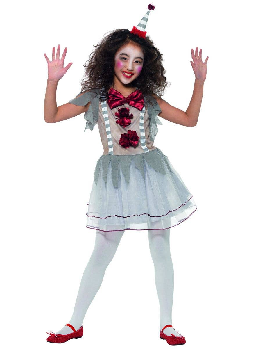 Vintage Clown Lady COSTUME WIG TIGHTS Halloween Ladies Womens Fancy Dress
