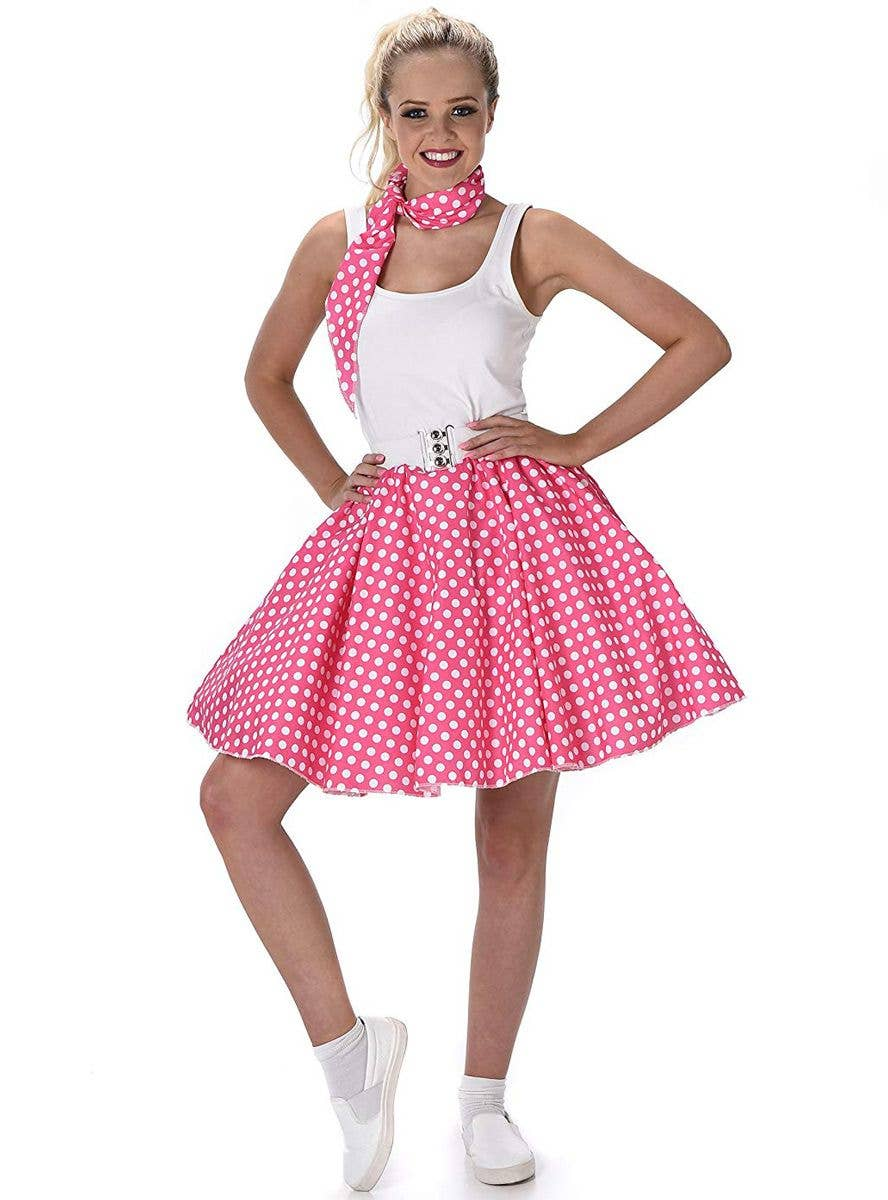 FANCY DRESS COSTUME = 50/'S LADY POLKA DOT ROCKER WHITE