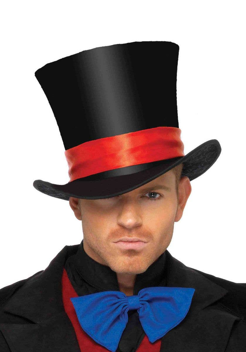 Satin Top Hat Red Satin Band Halloween Adults Mens Fancy Dress Costume Accessory