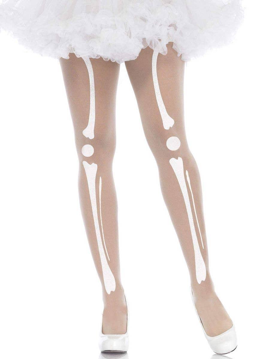 Skeleton Bone Tights,Legs,Halloween,Fancy Dress Party,Spooky,one size.NEW