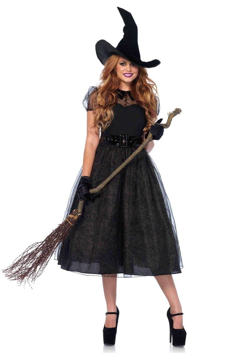 SPECIAL OFFER GIRLS HALLOWEEN GLAMOUR WITCH FANCY DRESS COSTUME DRESS AND HAT