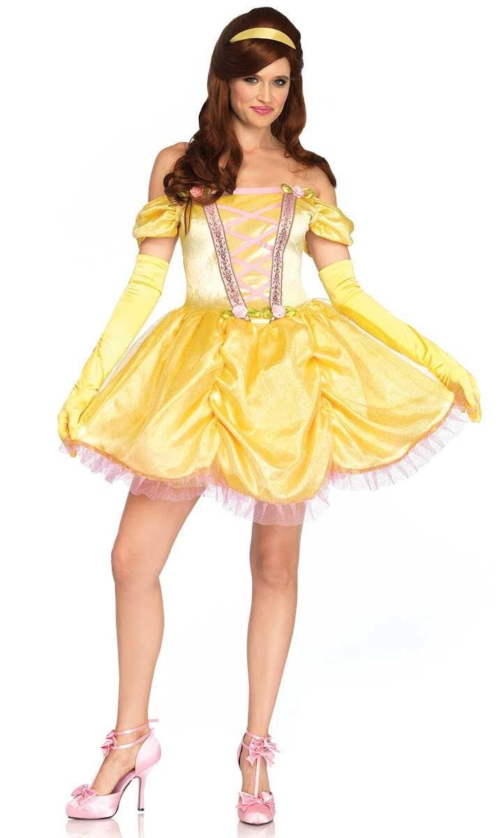 DISNEY STORE PRINCESS BELLE BEAUTY COSTUME DRESS NEW Yellow Pink Halloween NEW