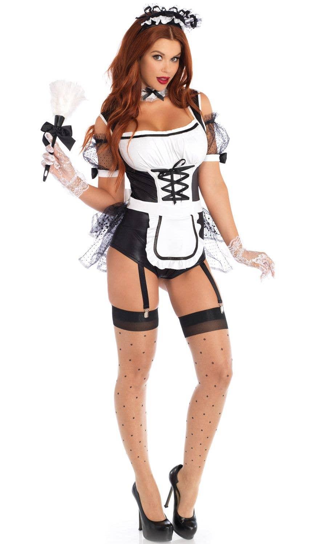 HALLOWEEN//ROCKY HORROR SHOW//Maid MAGENTA MAD MAID COSTUME Ladies Sizes