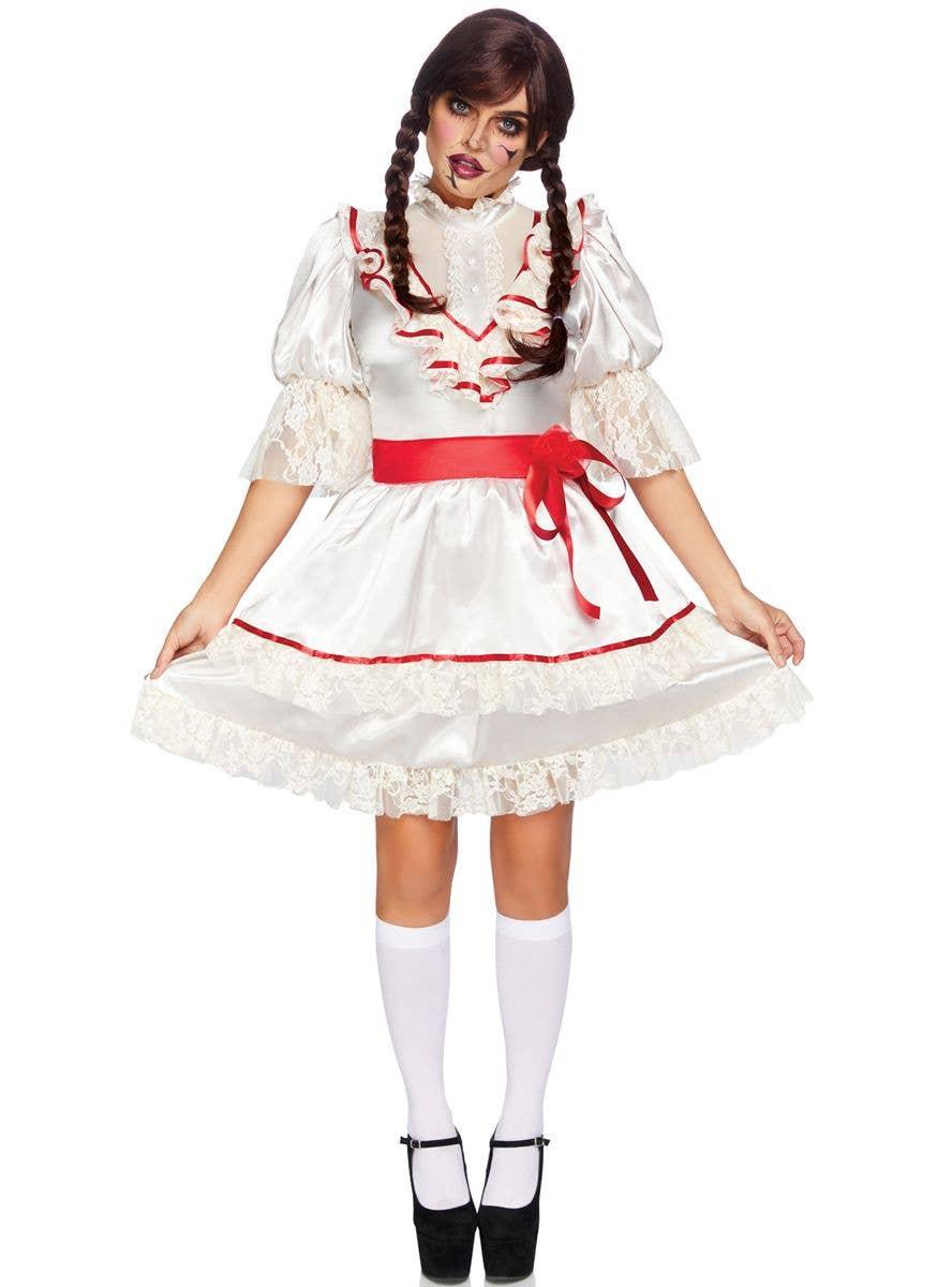 LADIES BROKEN DOLL COSTUME ADULT HALLOWEEN HORROR FANCY DRESS OUTFIT