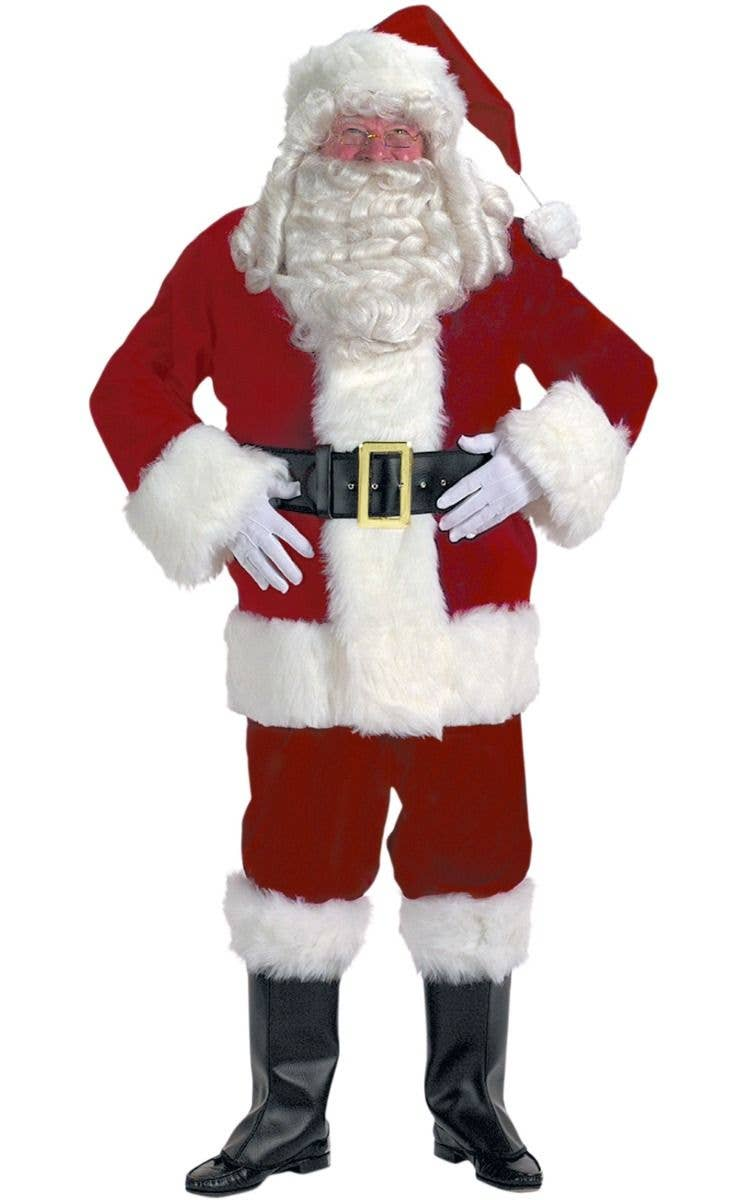 Deluxe 12 PIECE PLUSH Santa Claus Father Christmas Fancy Dress Costume XL-XXXXL