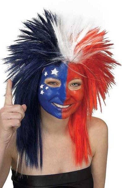 AUSTRALIAN BLUE//RED//WHITE WIG