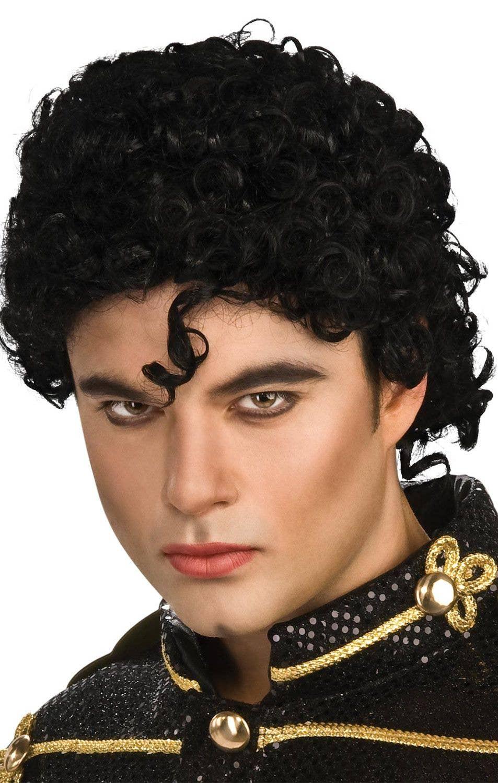 Mens 80s 90s Pop Rock Legend Wig Michael Jackson Fancy Dress Costume Accessory