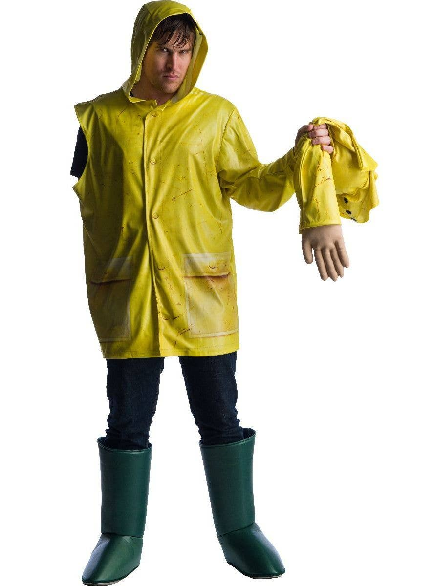 Mens Womens Adults Fancy Dress Yellow Raincoat Mac IT Georgie Halloween Costume