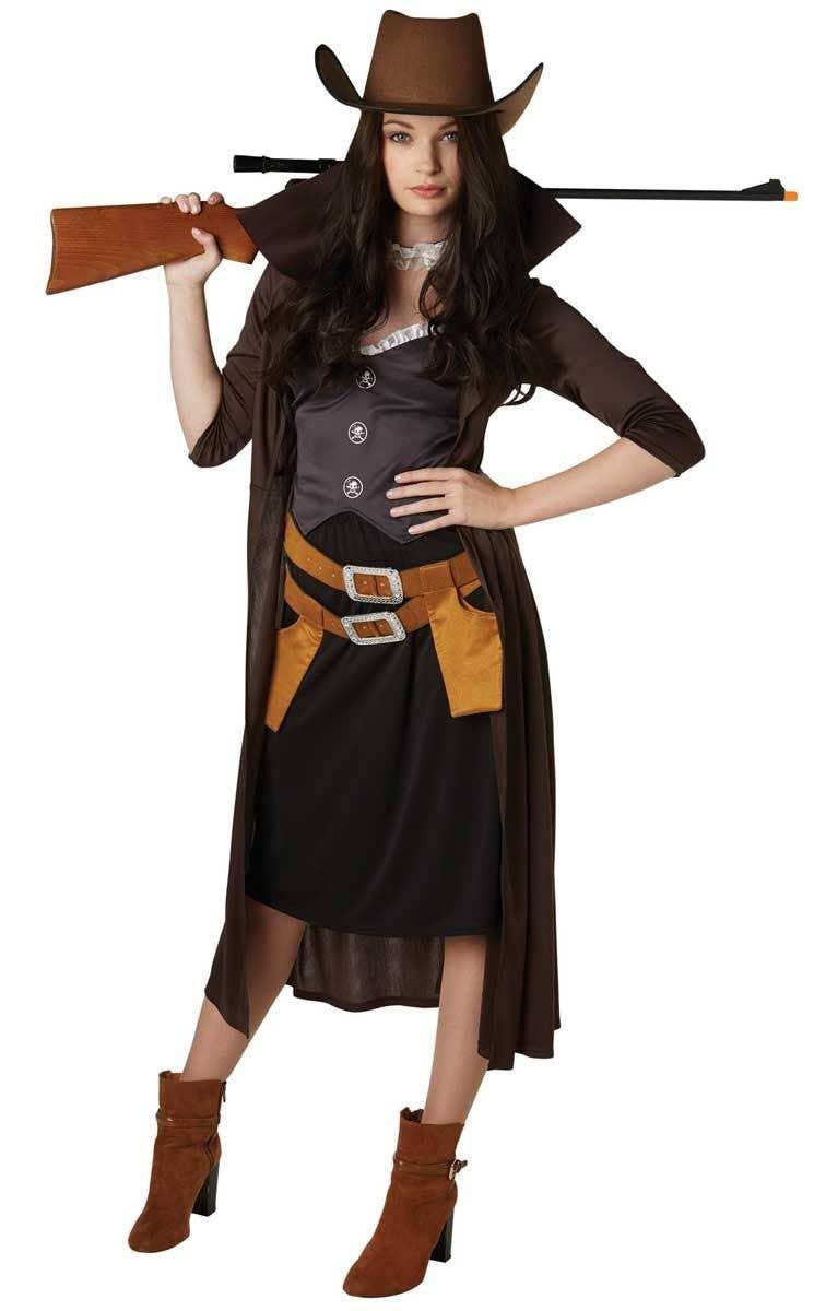 Gunslinger Cowboy Cowgirl Western Sheriff Black Dress Up Adult Halloween Costume