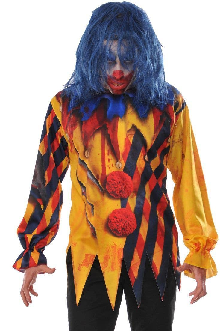 Scary Killer Evil Circus Clown Blood Tattoo Print Long Top Alternative Halloween