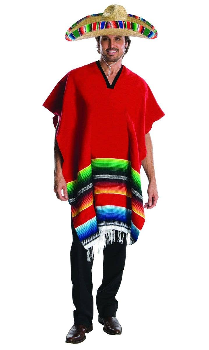 CHILDS MEXICAN HEAVY PONCHO WITH SOMBRERO RED PINK MULTI WILD WEST FANCY DRESS