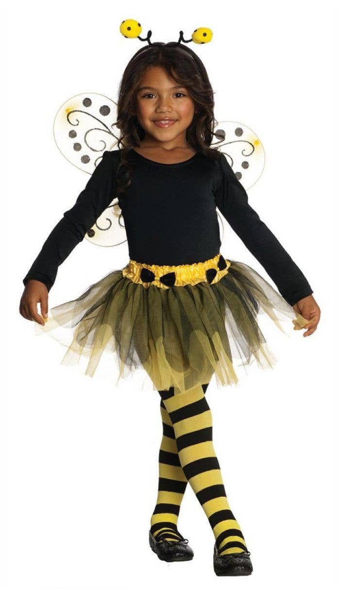 Kids Bumblebee Stripe Tights Girls Insect Book Day Week Fancy Dress Accessory