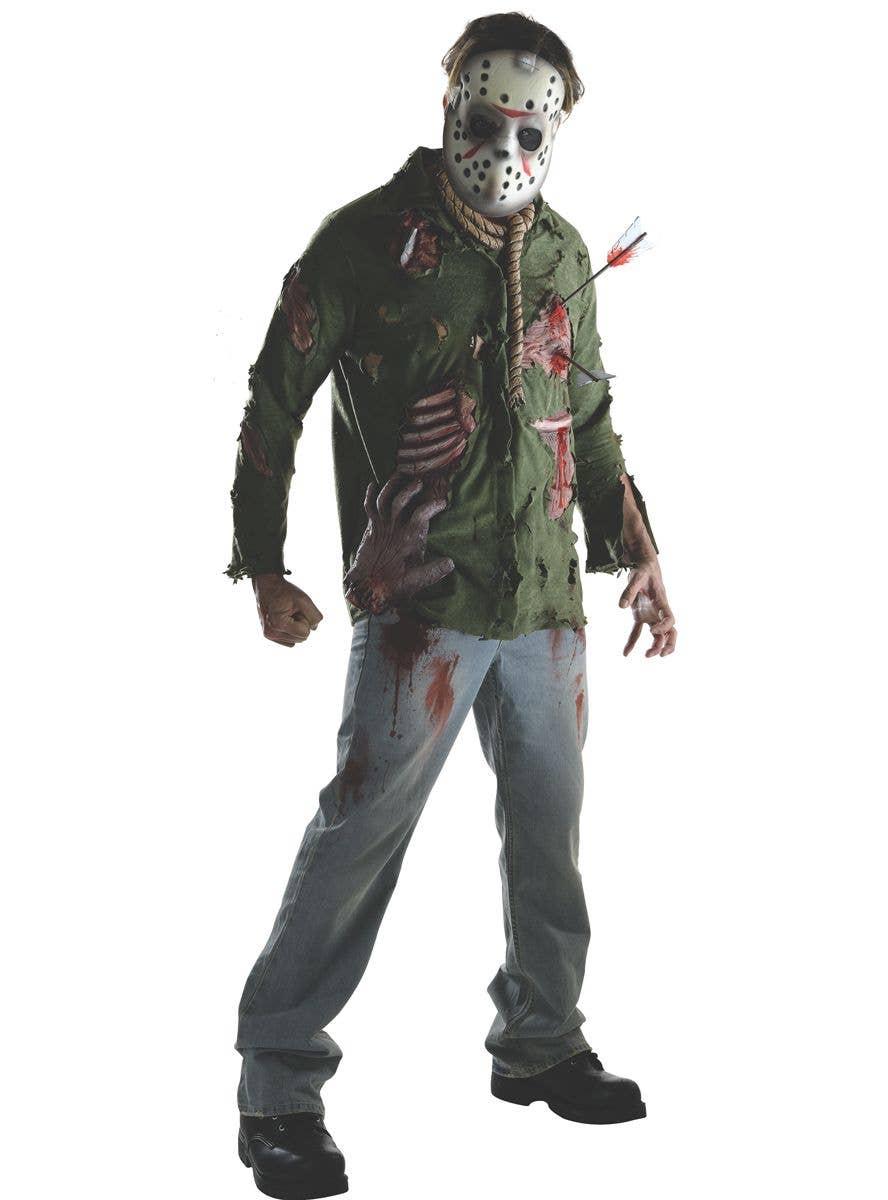 Mens Horror Movie T Shirt Camp Crystal Lake Hockey Team Halloween Fancy Dress